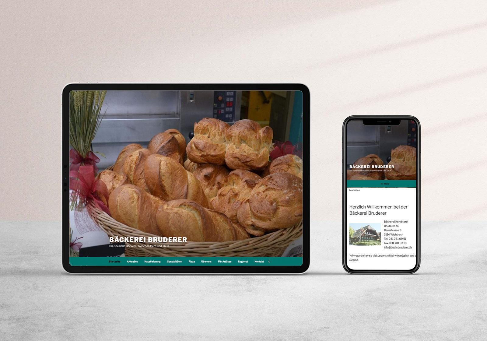 Website Bäckerei Bruderer